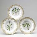 Royal copenhagen flora danica three large soup bowls decorated with viola thistle or adoya 20th c no 3545 9 34 dia
