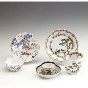 Chinese export three groups of teabowls and saucers mid 18th c miniature with children playing in a town landscape group of cherubs in a landscape and two blackbirds under a pine tree saucer 5