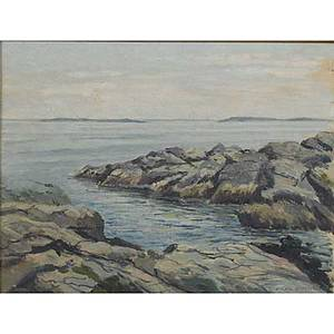20th c american seascape oil on board seascape newcombmachlin frame signed pw van duyen framed tagged on verso 9 x 12 12 x 15 12 frame