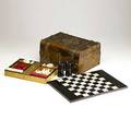 Victorian figured walnut game box brass banding ivory game pieces rosewood game board late 19th c 12 58 x 9 14 x 6 14