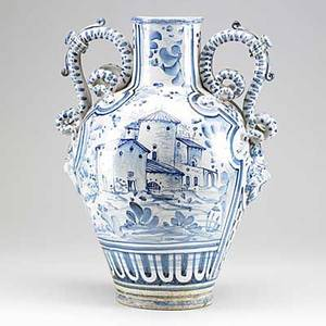 Italian faience urn double handled with mask applique 19th20th c 19 x 14 dia