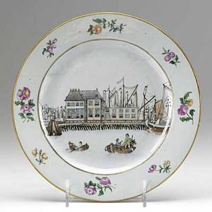 Chinese export plate depicting a harbor scene with east india hongs ca 1770 9 dia