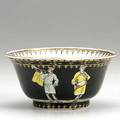 Cornelius pronk dutch 16911759 chinese export small trumpeter bowl painted with figures on a black ground with gilt decoration 18th c 2 58 x 4 58