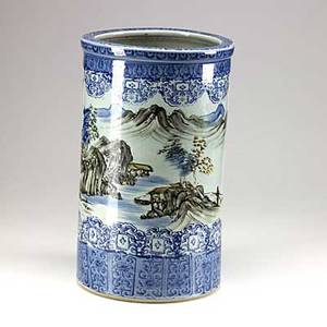 Chinese porcelain blue and white umbrella stand with landscape decoration 19th c signed 18 x 11