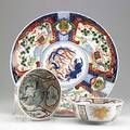Imari three pieces include a charger and two bowls 19th20th c charger 15 34 dia
