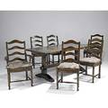 Country french refectory dining table and six rush seat chairs in walnut early 20th c 31 x 72 x 36