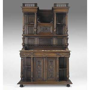 French buffet walnut with gallery top and marble insert late 19th c 90 x 55 12 x 21