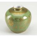 Green glazed and gilt jarlet monochrome jar with delicate gilt decoration six character daoguang 18211851 mark and of the period 3 78