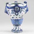 Chinese export large urn in the swedish faience design with swag knot and floral decoration ca 1775 lid missing 11
