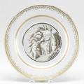 Chinese export plate with allegorical image of a halfdraped female with cello gilded borders ca 1745 9 dia