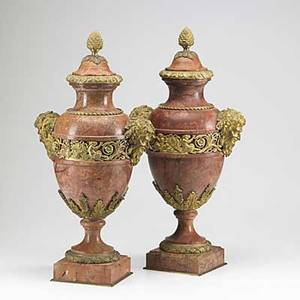 Pair of marble urns satyr head decoration with gilt bronze mounts 19th c some chipping to marble 25 12