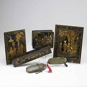 Asian grouping six pieces two chinese rectangular boxes and two notebook covers together with two japanese shagreen inro 19th20th c largest 9 x 12