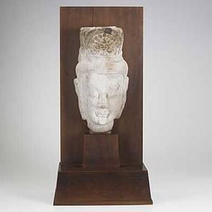 Sandstone head of a bodhisattva possibly maitreya late northern wei dynasty 386534 custom mounted with accompanying pedestal head 15 x 7 12 x 8 pedestal 78 12 x 18 12 x 12 12