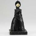 Ferdinand lugerth austrian 18851915 patinated bronze with ivory decoration of a woman on marble vase 20th c marked f lugerth austria 9 14 x 4 34 x 4 12