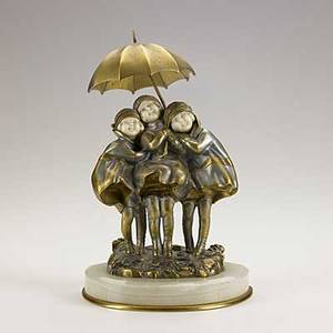 Demetre h chiparus romanian 18861947 dore bronze and ivory group of smiling children under an umbrella on bronzetrimmed onyx base early 20th c signed 9 12 x 6 12 x 5 14