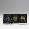 Three portrait miniatures two ovals identified as mr  mrs elias phelps one circular of a man with book ca 18301840 largest 2 14 x 2 14