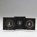 Three portrait miniatures each on ivory one oval and two round english or american ca 18301840 largest 2 12 x 2 12