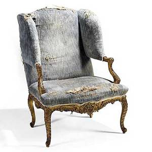 George iii style wingback armchair carved and gilded frame 18th19th c 42 x 31 x 33