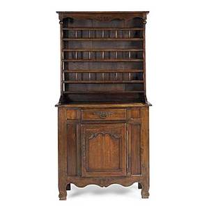 Country french stepback cupboard oak with open top and galleried shelves 18th c 40 x 20 x 80