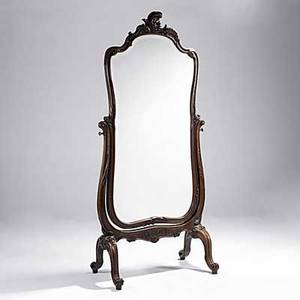 French louis xv style cheval mirror carved walnut frame beveled glass 19th c 88 x 40 x 23