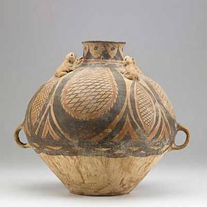 Neolithic chinese pottery twohandled vessel with frogs mechang culture ca 3300 bc 12 12 x 13 12