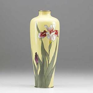 Japanese cloisonne vase iris decoration on yellow ground early 20th c 10