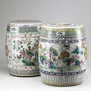 Chinese export two garden seats in famille rose with birds lotuses and chrysanthemum early 19th c 18 12 x 12