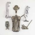 Five novelty corkscrews art deco waiter chrome parrot pig two dogs and pair of german ladies legs 19th20th c largest 8 12