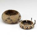 Pomo baskets one with blue beads the other with feathers late 19thearly 20th c larger 2 12 x 5 12