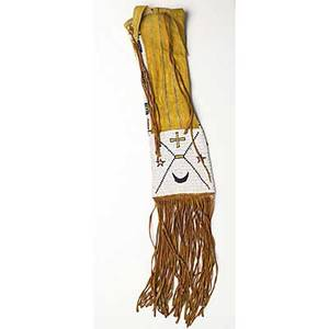Plains pipe bag of arapaho origin with polychrome beaded decoration and leather fringe late 19th c 33 x 6 includes fringe