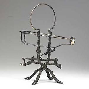 Mechanical wine cradle silver plate tree limbs wrapped in grapevines terminating in hooves 19th c 12 x 15 x 8 12