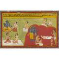 Four indian and persian miniatures showing haniman and royal figures in a palace setting 18th19th c framed by ben shahn largest 10 12 x 16