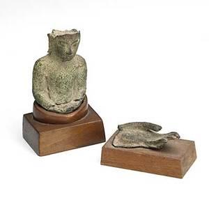 East asian bronze buddha figures 17th19th c javanese bronze figure of buddha and small bronze buddha hand figure 3 12