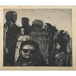 James kearns six works of art crowd etchingaquatint signed titled numbered 14 14 x 17 12 two etchingaquatint signed titled numbered ap 14 14 x 17 12  untitled mixed media on