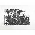 Jacob landau horses and men woodblock print on rice paper signed titled dedicated and numbered ap 20 x 24 image 24 x 30 sheet
