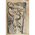 Leonard baskin standard bearer 1949 wood engraving mounted on board signed titled and dated 41 x 27 34