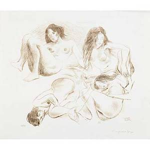 Raphael soyer two works of art three nudes sepia lithograph on paper signed and numbered 23 x 27 sheet studio nude lithograph on paper signed in the plate 16 x 12 sheet