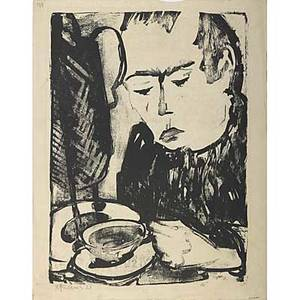 Max kaus man with coffee 1921 lithograph signed and dated 22 x 16 image 23 x 18 sheet
