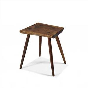 George nakashima walnut occasional table with irregular plank top on four tapered legs 16 12 x 14 12 x 12