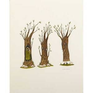 Marcel dzama canadian b 1974 untitled trees 2002 ink and watercolor on paper framed signed 14 x 11 sheet provenance david zwirner gallery new york private collection massachusett