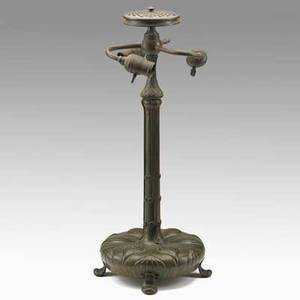 Tiffany studios bronze table lamp base in leaf and scroll pattern new york ca 1900 base marked tiffany studios new york 572 357 20 12 x 9