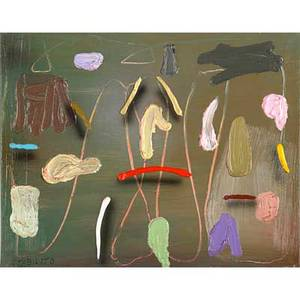 Joseph stabilito american b 1955 three works of art untitled 1990 acrylic on paper framed signed and dated 40 x 32 sheet tricot 1992 acrylic on canvas signed dated and titled 48