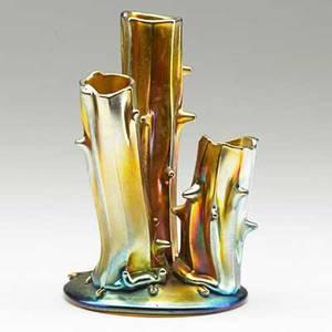 Steuben gold aurene glass tree stump bud vase corning ny 1910s etched steuben aurene 2744 5 34 x 3 34