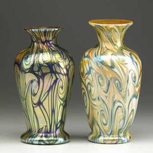 Quezal two art glass vases in the king tut pattern new york 1900s each etched quezal 6 x 3 14 6 12 x 3 14