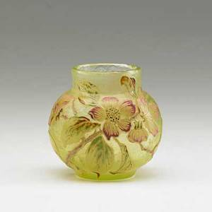Galle early enameled wheel carved glass cabinet vase with apple blossoms nancy france1890s signed galle on body 3 12 x 3 12