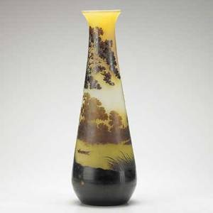 Galle monumental acidetched cameo glass vase with rowboat in landscape nancy france 1900s signed galle on body 23 12 x 7 12