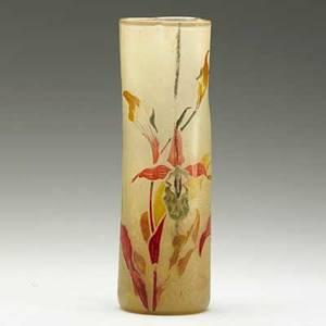 Galle early enameled gilded acidetched glass vase with orchids nancy france1890s signed egalle 9 x 3