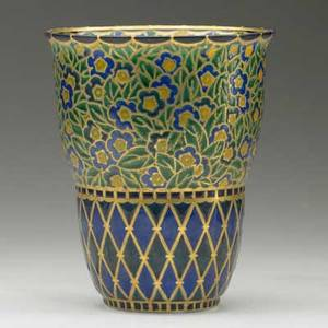 Auguste c heiligenstein enameled glass vase with floral pattern over trellis france 1920s signed aug heiligenstein a 146 7 34 x 6 14