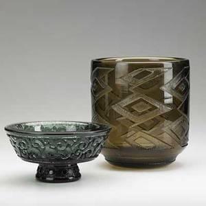 Daum two acidetched smoky glass vessels nancy 1920s each etched daum nancy france 8 x 7 14 3 34 x 7 14