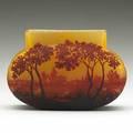 Daum acidetched cameo glass pillow vase with landscape nancy france 1900s signed twice daum nancy 4 12 x 6 12